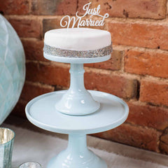 Silver Just Married Wedding Cake Topper