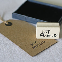 just married wedding stamps invitations