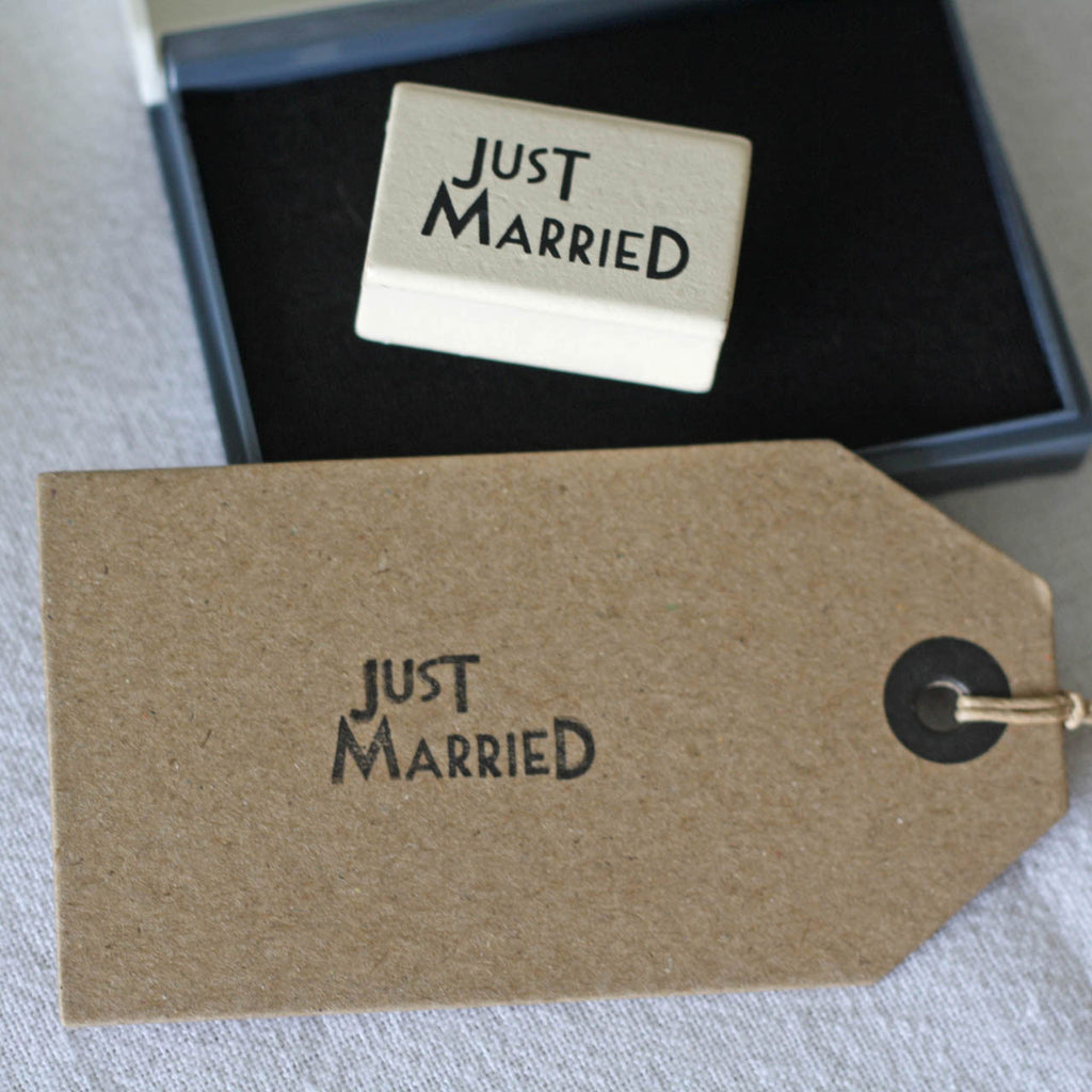 just married wedding stamps