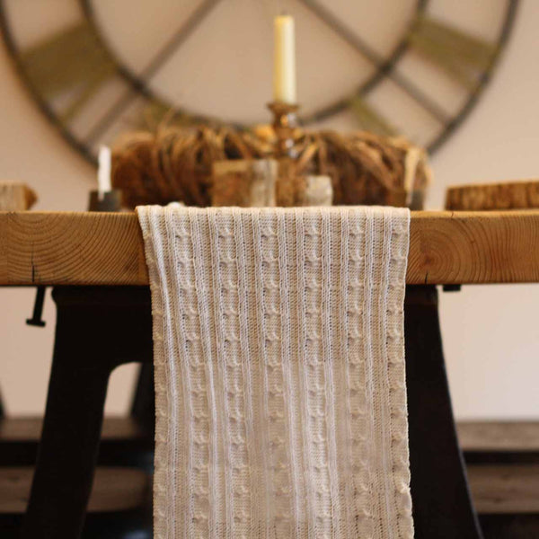 White Knitted Table Runner 3m