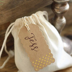 Brown kraft luggage tags with gold foil polka dots rustic glamour - available from The Wedding of my Dreams