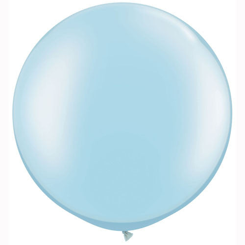 large pastel light blue pearl round balloons