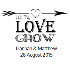 Let The Love Grow Wedding Favour Stickers (personalised) – Sheet Of 18