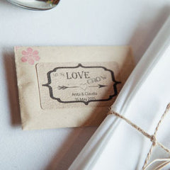 let the love grow wedding favour stickers