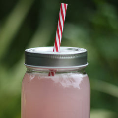 Mason Jar Drinking Glass With Straw