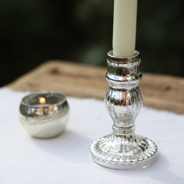 Mercury Silver Candle Stick - Set of 2