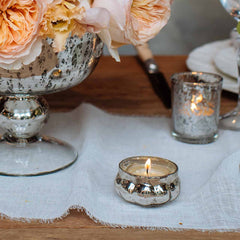 mercury silver glass tea light holders