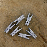 Mini Wooden Pegs Silver Glitter – Pack of 6
