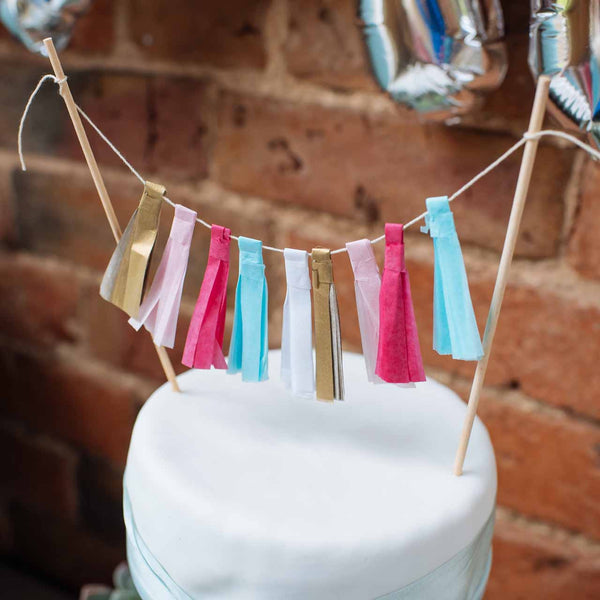 mini tassel garland wedding cake topper