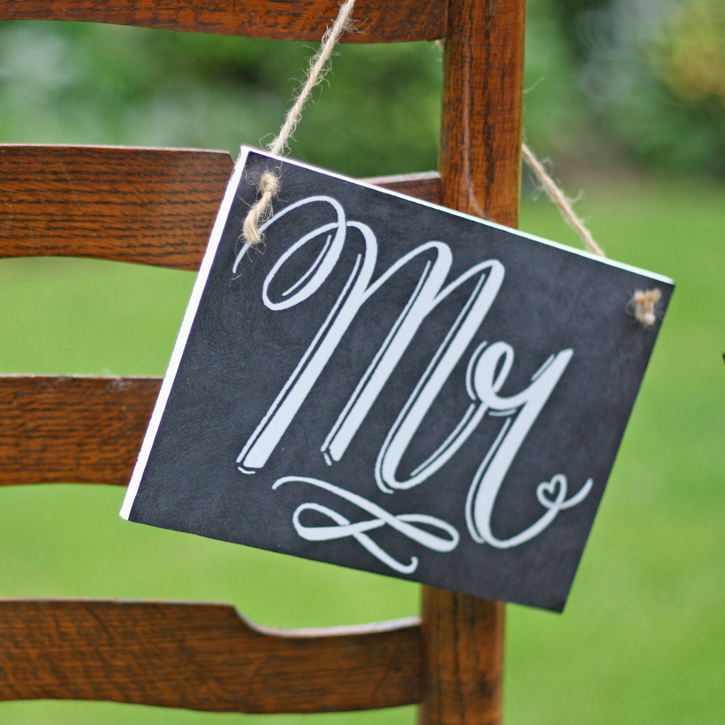 Mr & Mrs Chair Back Wedding Signs – Chalkboard Style