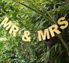 MR & MRS Bunting - Gold Glitter