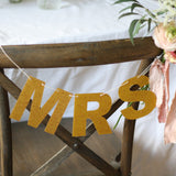 MR & MRS gold glitter bunting for wedding chair backs