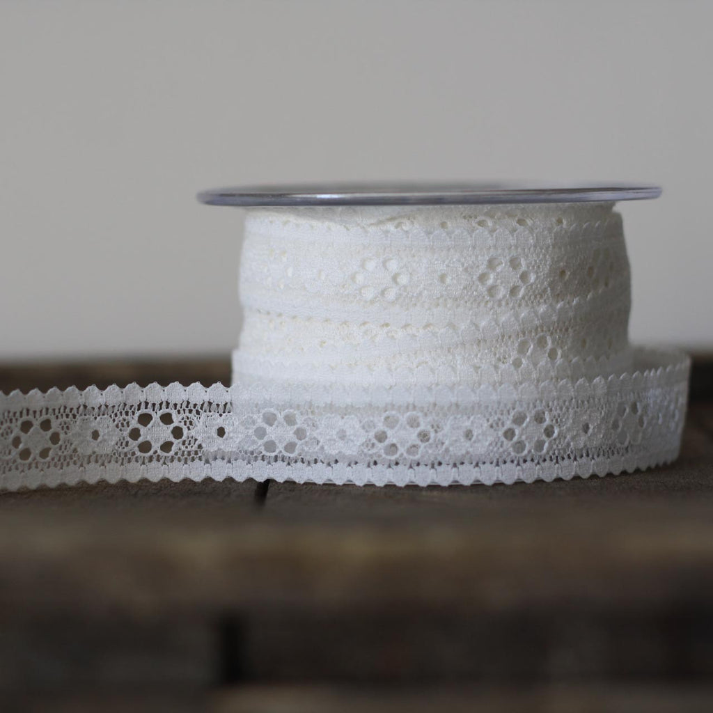 white lace ribbon sold by the metre