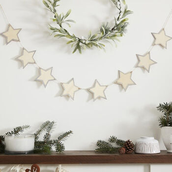 Wooden Star Bunting With Sparkle Edges