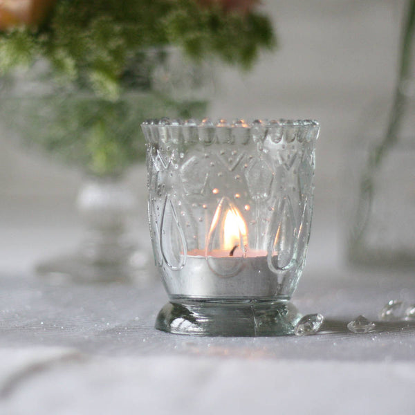Footed Pressed Glass Tea Light Holder wedding candle holders