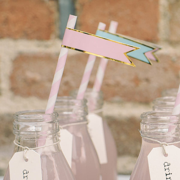 paper flags stickers straws pink blue
