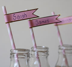 paper flags to personalise paper straws at weddings