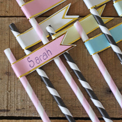 Paper flags for straws