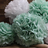 mint green wedding paper pom poms