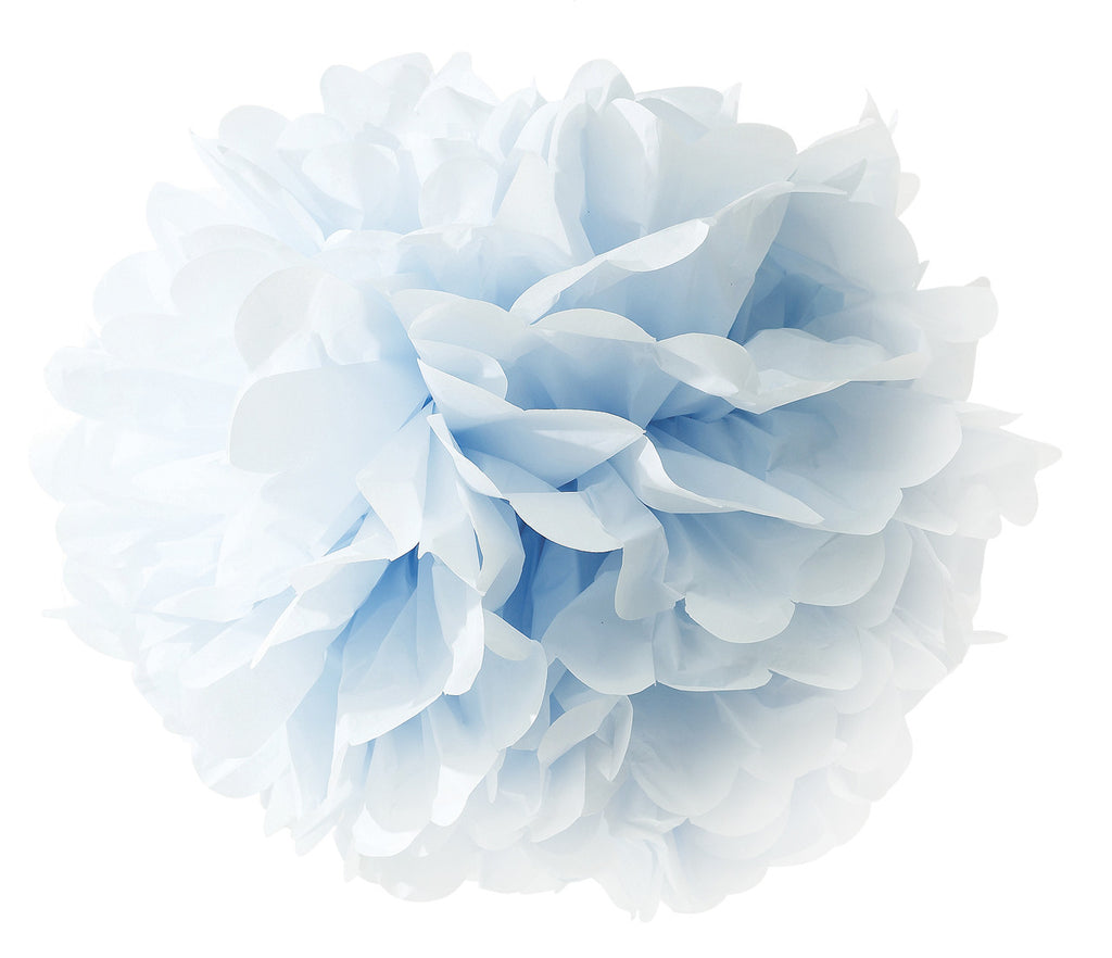 large blue tissue paper pom poms the wedding of my dreams. Black Bedroom Furniture Sets. Home Design Ideas