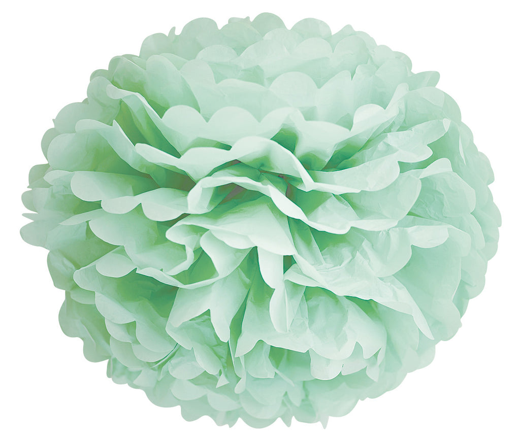 mint green tissue paper pom poms hanging wedding decorations