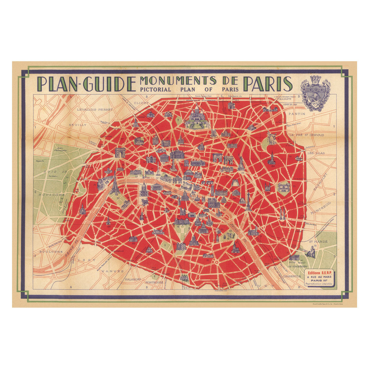 Paris Map Poster, Wrapping Paper (Wedding Table Plan) – The Wedding ...