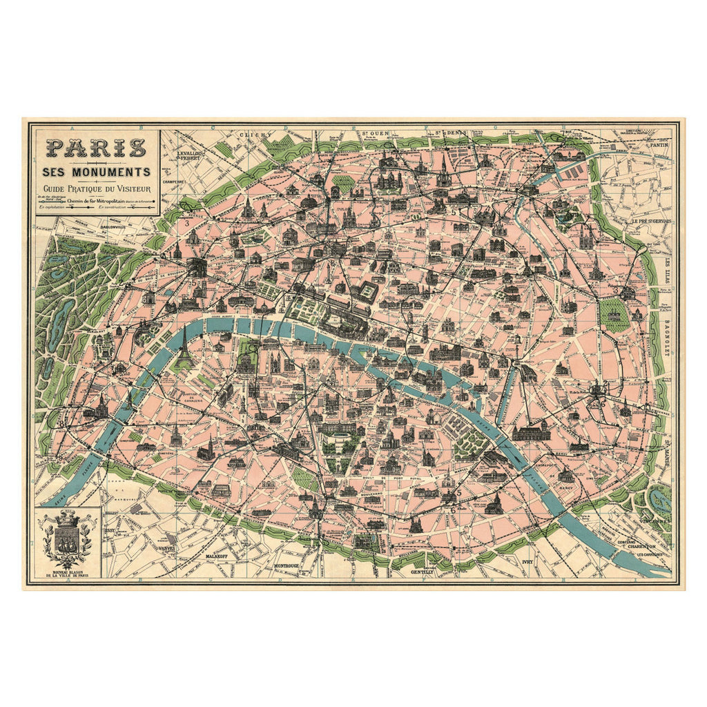 Paris Map Poster, Wrapping Paper (Wedding Table Plan)