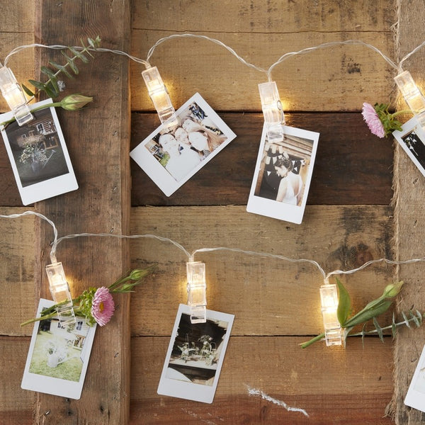 LED Pegs On Wire Photo Display - weddings, hen party, baby shower
