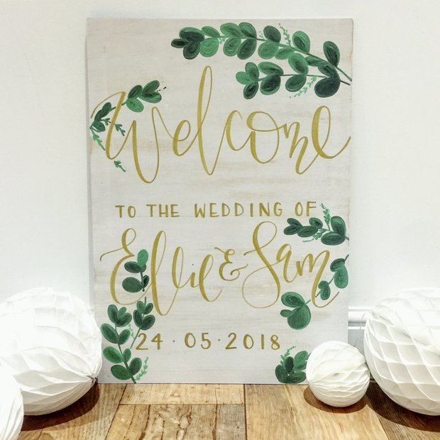 Personalised Wooden Welcome Sign - White Wash with Eucalyptus & Gold