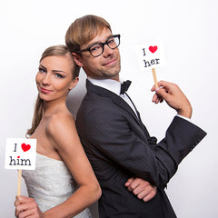 Photo Booth Props - I Love Her / I Love Him - available from The Wedding of my Dreams