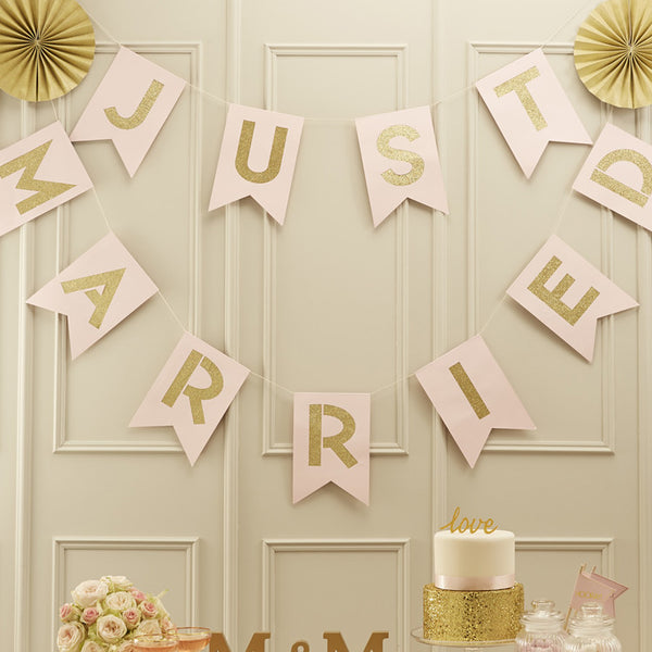 JUST MARRIED Pink And Gold Glitter Paper Bunting