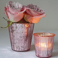 large blush pink tea light holder vase
