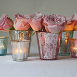 antique silver pink vase tea light holders
