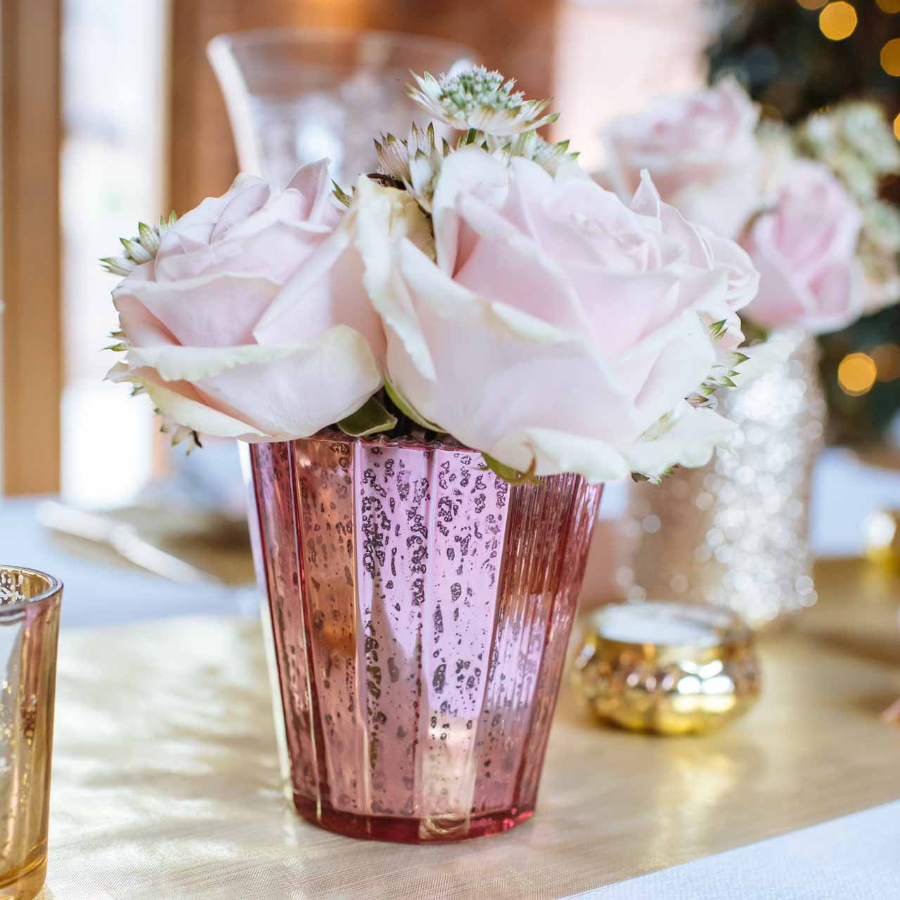 Well known Ribbed Mercury Glass Vase or Votive Pink – The Wedding of My Dreams US05