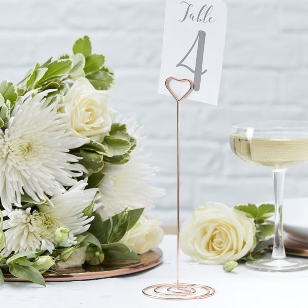 Wedding Table number holders rose gold available from The Wedding of my Dreams