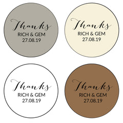 Round Wedding Favour Stickers Thanks x 24