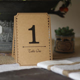 wedding table numbers rustic brown card