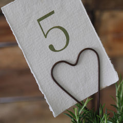 rustic heart wedding table number holder