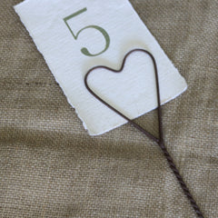 rustic heart wedding table number holders