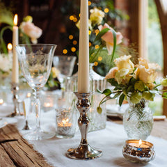 silver candle stick holders for dinner candles