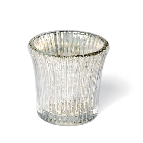 Mercury Silver Fluted Tea Light Holders