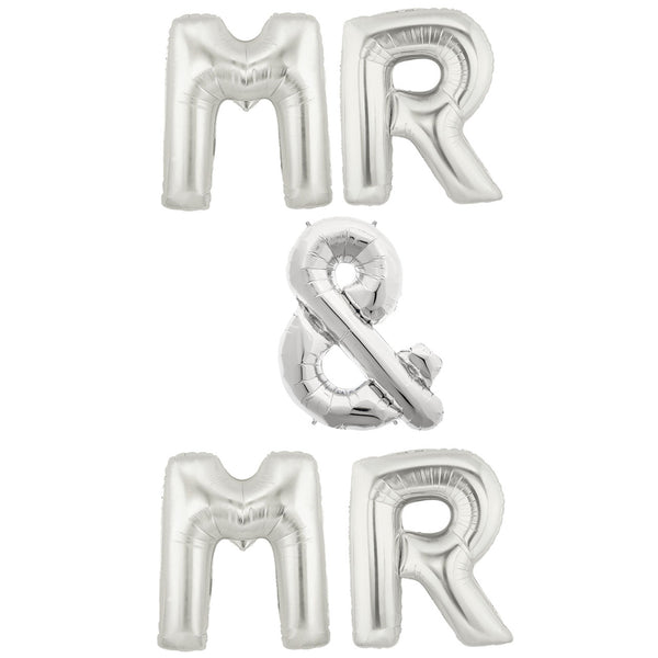 silver wedding balloons mr & mr