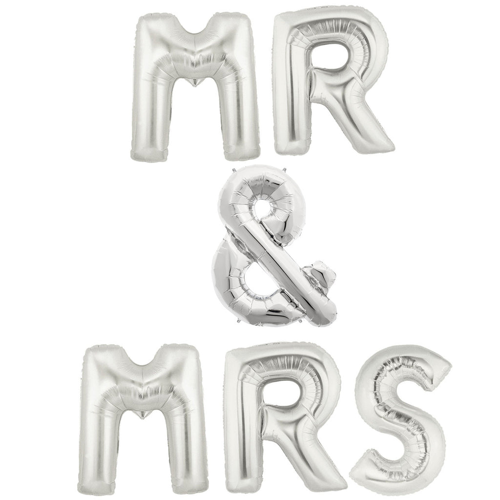 silver wedding balloons mr & mrs