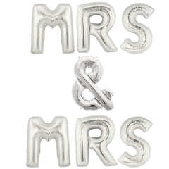 silver wedding balloons mrs & mrs