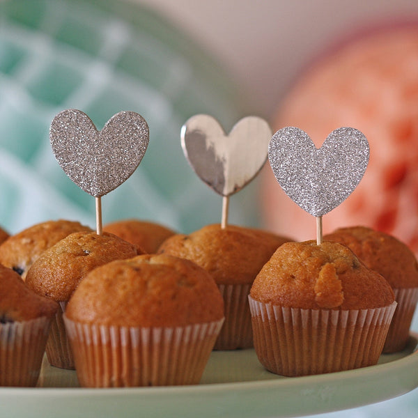 Silver Glitter Heart Cake Toppers