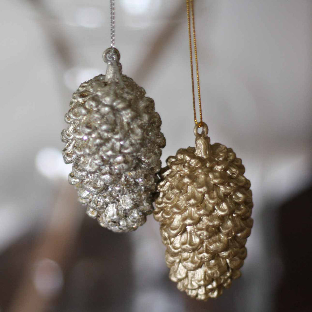 Two Metallic Pinecones Christmas Tree Decorations