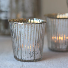 Ribbed Mercury Glass Tea Light Holders Silver