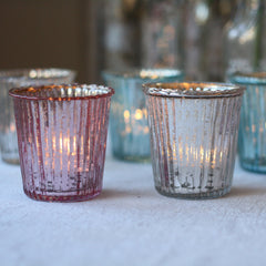 mercury silver pink teal tea light holders