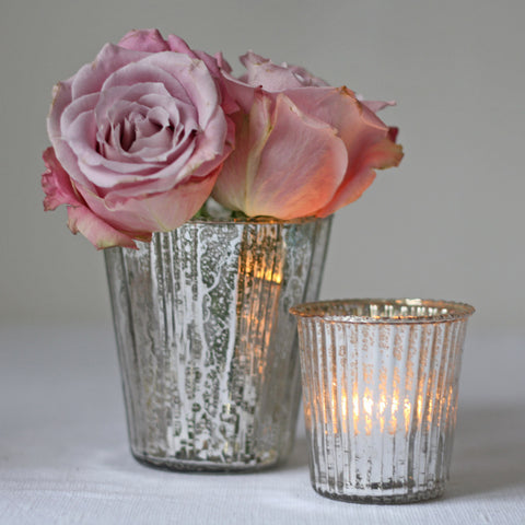 Ribbed Mercury Glass Vase or Votive Silver