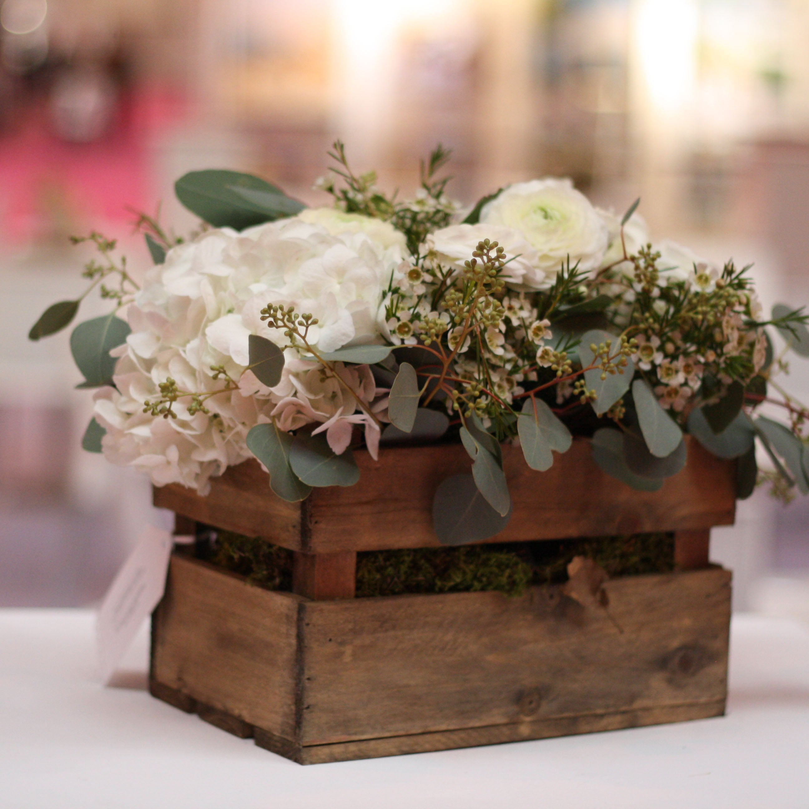Wooden crate box rustic wedding centrepiece the wedding for Table centrepiece